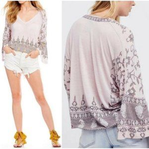 Free People Medallion Print Top Lilac, XS